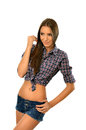 Beautiful country girl posing with hand on hip isolated white Stock Photography
