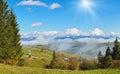 Beautiful country morning in carpathian mountains autumn near village outskirts mountain ukraine Stock Image