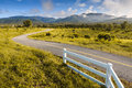 Beautiful countryside road under blue sky chiang mai thailand Stock Photos