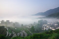 Beautiful county a chinese village in the morning Royalty Free Stock Photography