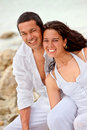 Beautiful couple at the beach Stock Images
