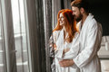 Beautiful couple enhoying wellness weekend in a luxurious resort Stock Photos