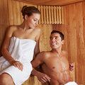Beautiful couple in sauna Royalty Free Stock Photo