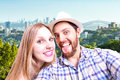 Beautiful Couple taking a selfie photo in Sydney, Australia Royalty Free Stock Photo