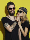 Beautiful couple together. Tattoo Hipster boy and girl. Royalty Free Stock Photo