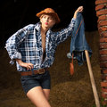 Beautiful cowboy girl in village Royalty Free Stock Photos