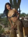 Beautiful Cowgirl In Front of Cactus Stock Photography