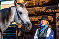 Beautiful Cowgirl in Western Scene Royalty Free Stock Photo