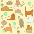 Beautiful creative textiles. Cute cat reads, sleeps, sits, drinks. Wallpaper for a children`s room with a pet, beautiful patterns