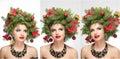 Beautiful creative Xmas makeup and hair style indoor shoot. Beauty Fashion Model Girl. Winter. Beautiful fashionable in studio Royalty Free Stock Photo