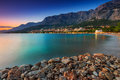 Beautiful croatian resort at sunset makarska dalmatia europe over the beach croatia Stock Images