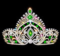 beautiful crown, tiara tiara with gems and pea