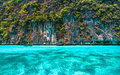Beautiful crystal clear sea at tropical island phi phi island andaman thailand Royalty Free Stock Images
