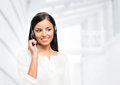 Beautiful customer support operator posing in a studio Royalty Free Stock Photo