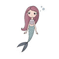 Beautiful cute cartoon mermaid with long hair. Siren. Sea theme.