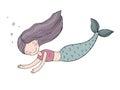 Beautiful cute cartoon mermaid with long hair. Siren. Sea theme.