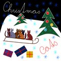 Beautiful cute Christmas design with colorful cats Royalty Free Stock Photo