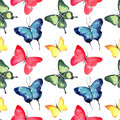 Beautiful cute sophisticated magnificent wonderful tender gentle spring blue green red yellow butterflies pattern watercolor Royalty Free Stock Photo