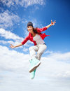 Beautiful dancing girl jumping sport and urban culture concept Royalty Free Stock Image