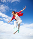 Beautiful dancing girl jumping sport and urban culture concept Royalty Free Stock Photos