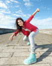 Beautiful dancing girl in movement sport and urban culture concept Royalty Free Stock Photos