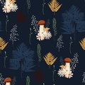 Beautiful dark Autumn seamless pattern vector with mushrooms, berries, fern, herbs and leaves. Royalty Free Stock Photo