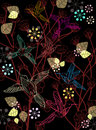 Beautiful dark floral illustration with birds Royalty Free Stock Photography