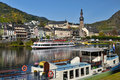 Beautiful day in Cochem city. Ferry on Mosel river Stock Photo