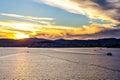 Beautiful daybreak at vigo harbor the way to spain Stock Photos