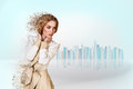 Beautiful debris woman on white Royalty Free Stock Photography