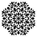 Beautiful Deco Mandala Vector. Frost, chic. Black and white mandala Mandala.