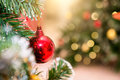 Beautiful decorated fireplace and Christmas tree Royalty Free Stock Photo