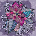 Beautiful decorative vector flower hand drawn vintage Royalty Free Stock Images
