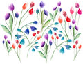 Beautiful delicate bright spring colorful herbal red pink violet tulips and blue bluebells with leaves composition