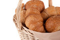 Beautiful delicious bread in the basket Stock Images
