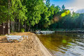 Beautiful forest lake with a beach place for a quiet relaxing holiday on a wooden pier