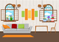 Beautiful design elements, Vector illustration of living room furniture in mid century modern style.