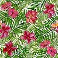 Beautiful design for wallpapers, textiles, fabrics, wrapping paper. Floral tropical seamless pattern for wallpaper or fabric.
