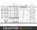 Beautiful detailed linear cityscape collection with townhouses. Small town street with victorian building facades Royalty Free Stock Photo