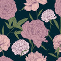 Beautiful detailed peonies seamless pattern. Hand drawn blossom flowers and leaves. Colorful vintage vector illustration
