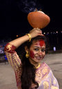 Beautiful devotee young women with dhunuchi at baja kadam tala ghat in the occasion of durga immersion on vijaya dasami Stock Photography