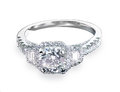 Beautiful diamond wedding engagment band ring solitaire with multiple halo stones
