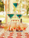 Beautiful of different colored cocktails Royalty Free Stock Photo