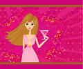 Beautiful disco girl with drink illustration Stock Images