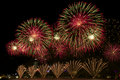 Beautiful display of red fireworks on australia day Royalty Free Stock Photography