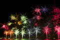 Beautiful display of red fireworks on australia day Stock Photos