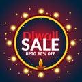 Beautiful diwali sale banner with light bulbs and diya Royalty Free Stock Photo