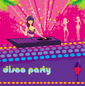 Beautiful dj girl and girls dancing at a party illustration Stock Images