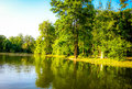Beautiful dream landscape in summer season view of park with forest and lake Stock Photo