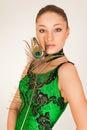 Beautiful dress girl green portrait Стоковая Фотография